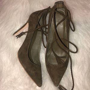 Joie Green Suede Angelynn Lace up Pumps 38.5/8.5